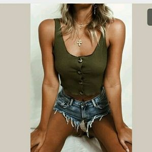 Sexy Army Green Button Up Crop Top